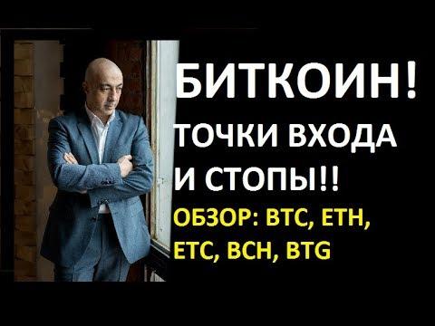 БИТКОИН! ТОЧКИ ВХОДА И СТОПЫ!! ОБЗОР BTC, ETH, ETCUSD, ETCBTC, BCH, BTG