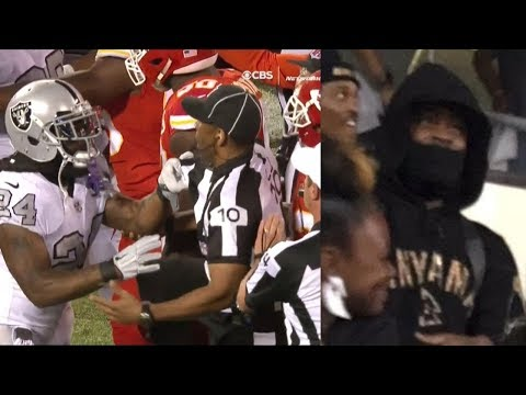 Marshawn Lynch Caught Watching in the Stands After Being Ejected for Shoving Referee