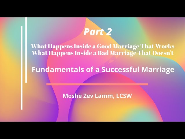 Whats Inside a Good Marriage, Whats Inside A Bad Marriage - PART 2 - Moshe Zev Lamm, LCSW