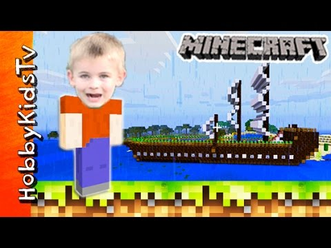 Minecraft Boat Car! HobbyFrogs Creative World Video Game Family Fun HobbyKidsTV