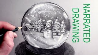 How to Draw a Snow Globe: Narrated Drawing