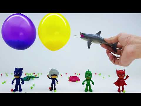 Learn Colors with Pj Masks Toys and Balloons