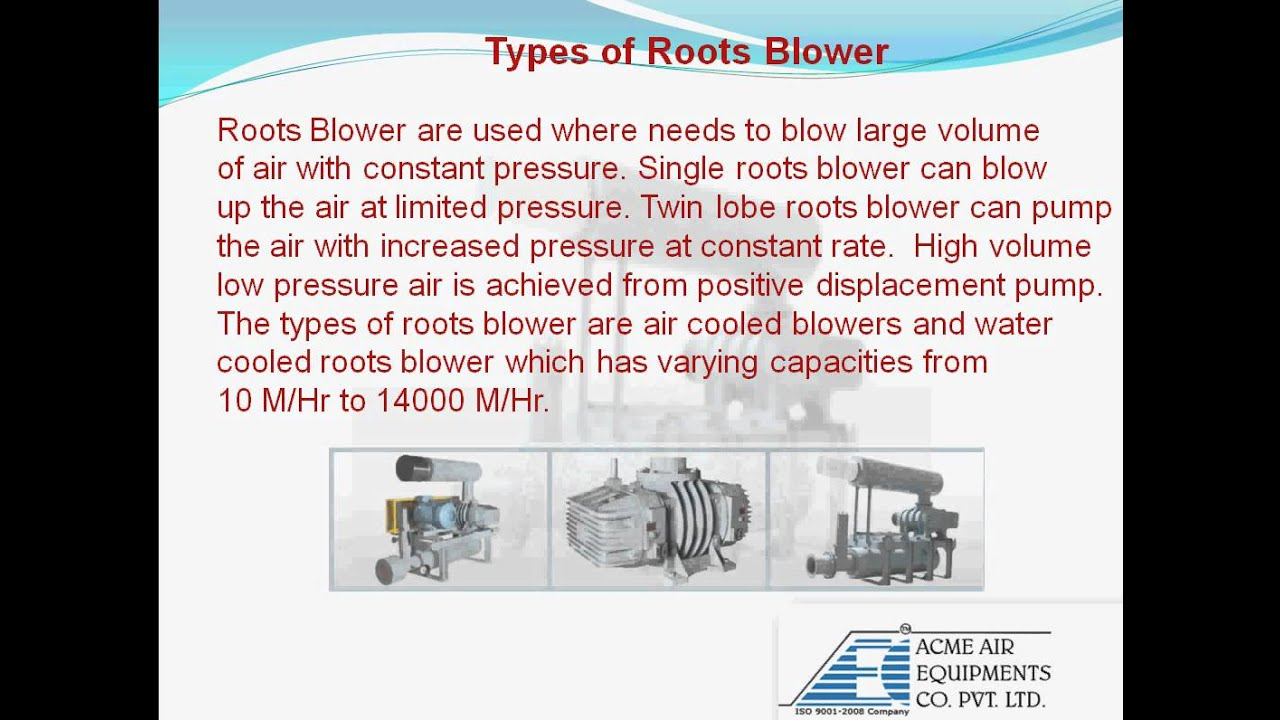 Types Of Blowers : Roots blower works of types