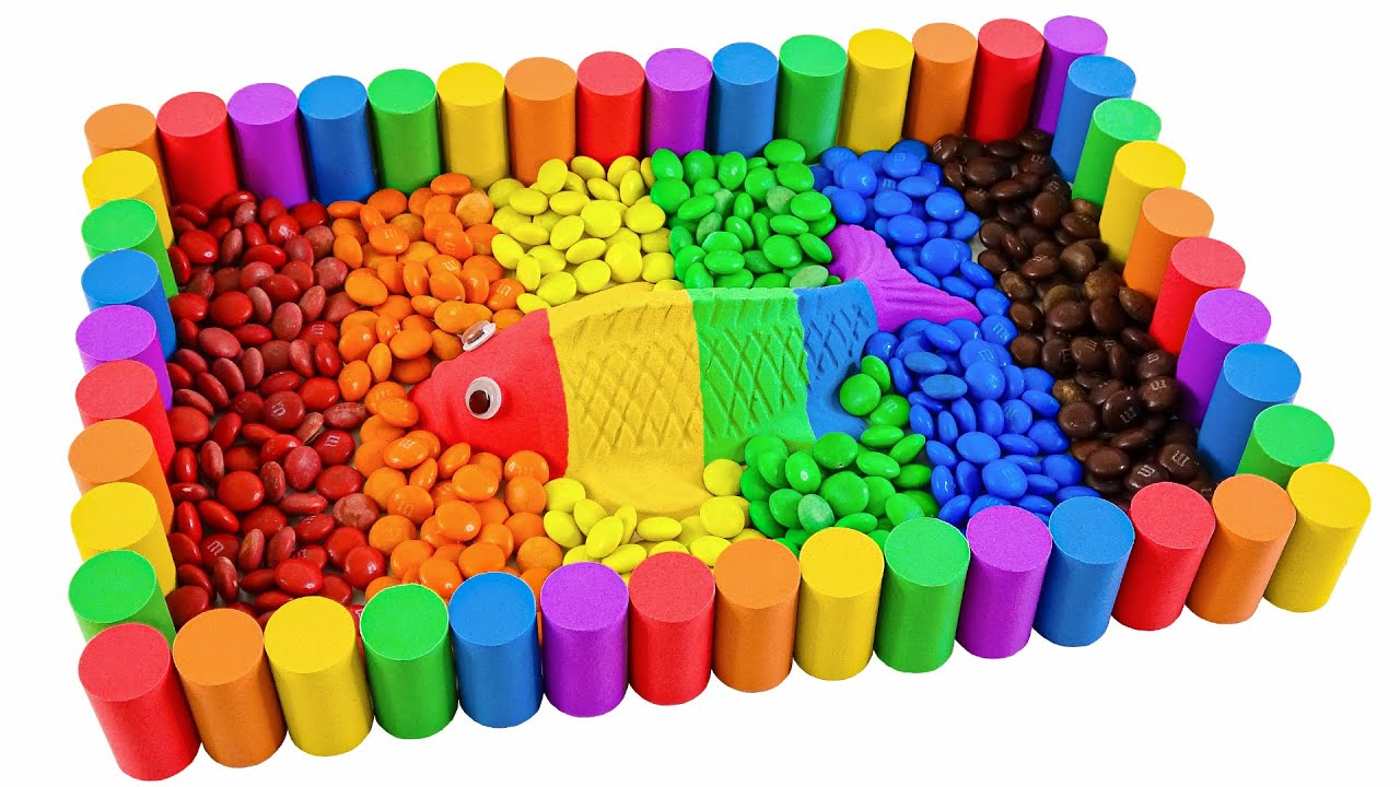 Satisfying Video l How To Make Kinetic Sand Pool Fish With M&M Candy Cutting ASMR #174 Bon Bon