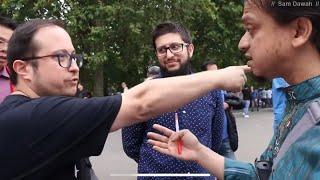 Shook up!! Mansur Vs Atheist   Speakers Corner   Hyde Park