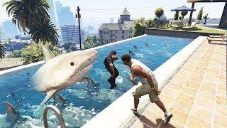 رمي رجال الشرطة فوق أسماك القرش في قراند 5؟ GTA V SHARK AND POLICE