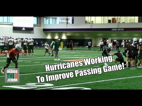 Miami Quarterbacks Throwing to Wide Receivers in First Spring Practice