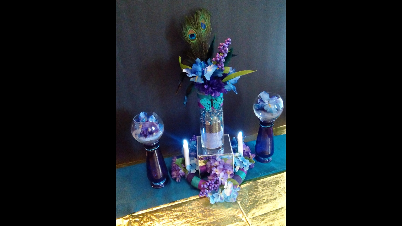peacock wedding centerpiece diy final reveal youtube rh youtube com Purple Wedding Centerpieces DIY Peacock Centerpieces for Wedding Receptions