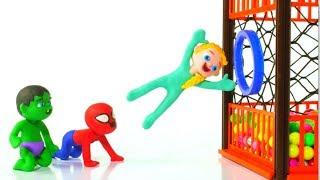 SUPERHERO BABIES PLAY AT THE BALL PIT ❤ Spiderman, Hulk & Frozen Elsa Play Doh Cartoons For Kids