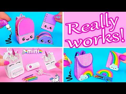 DIY Back to School ~ DIY Miniature School Supplies! Unicorn, Kawaii, Rainbow