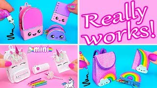 DIY Back to School ~ DIY Miniature School Supplies! Unicorn, Kawaii, Rainbow