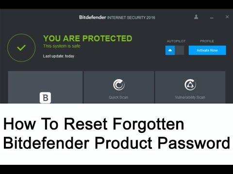 How to reset forgotten Bitdefender product password