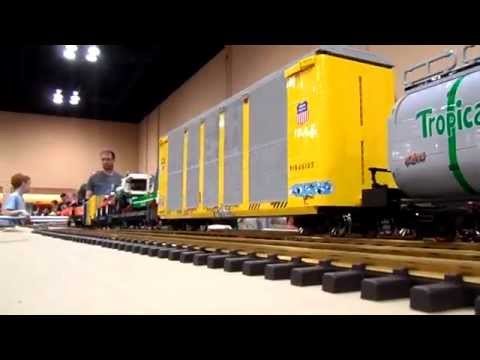 Large G scale size Lego BNFS freight train from Brickworld Chicago 2014