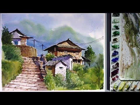 Watercolor Landscape Painting : ghandruk village