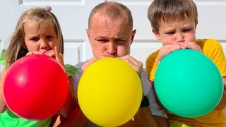 Fun playtime for kids with daddy and Balloons