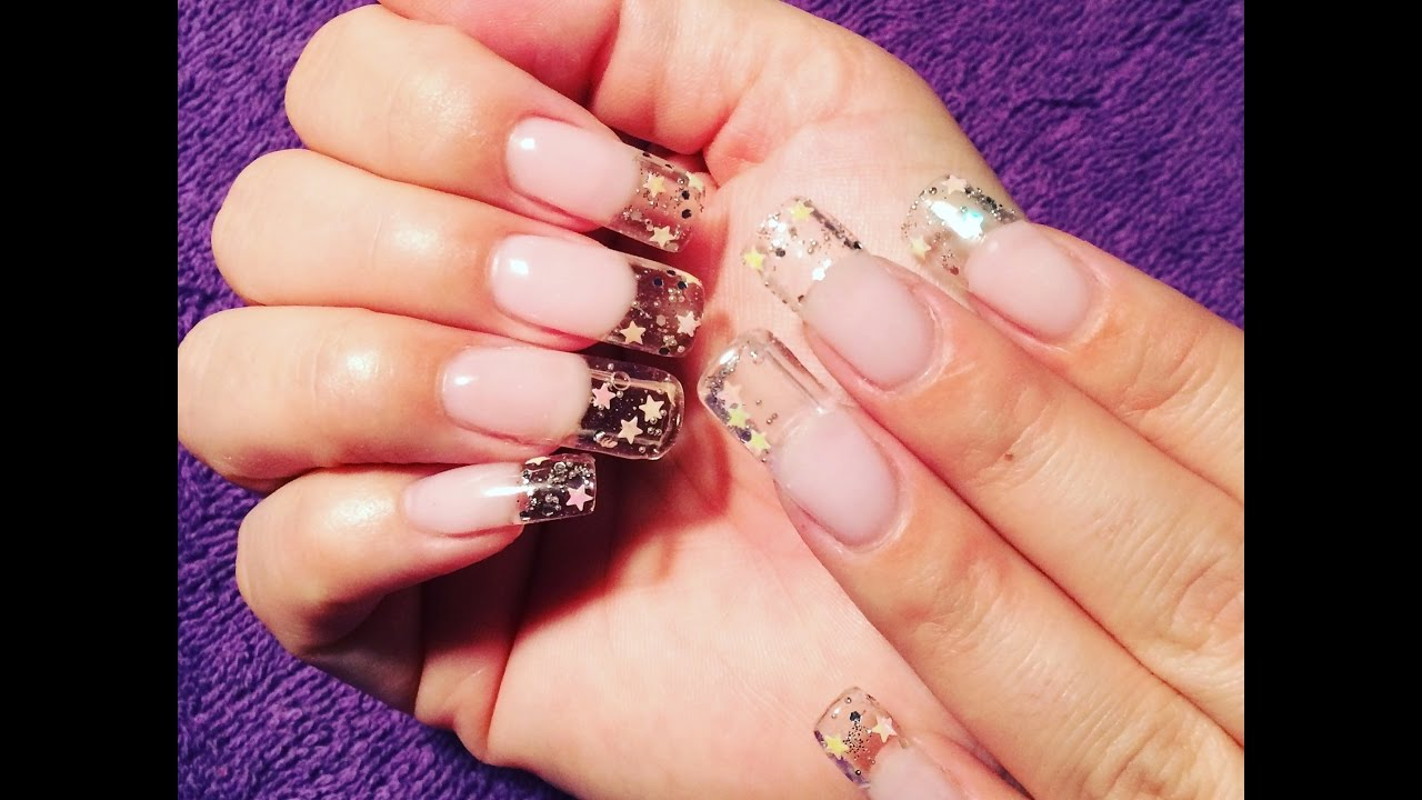 Fake aquarium nails? Get it with gel nails & clear tips! - YouTube
