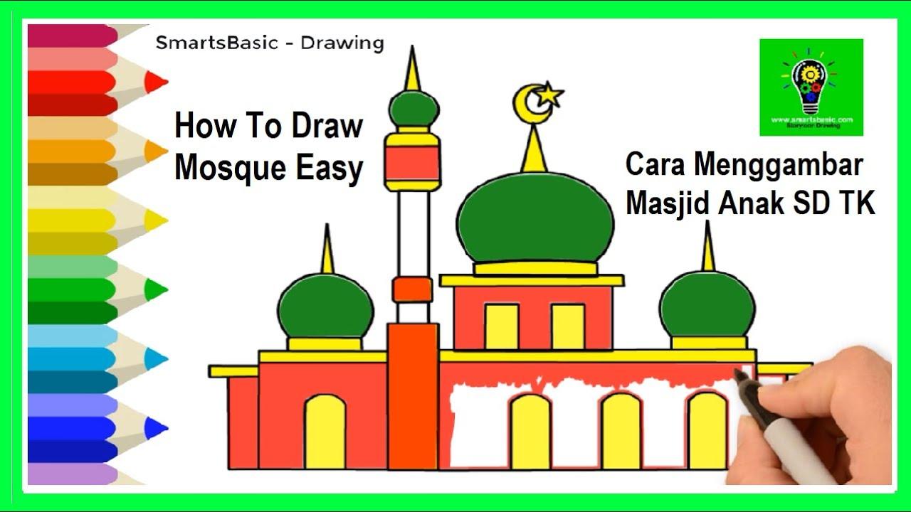 Cara Mewarnai Masjid Gambar Masjid Mudah Cara Menggambar Masjid Sederhana Gambar Masjid Anak Tk Youtube
