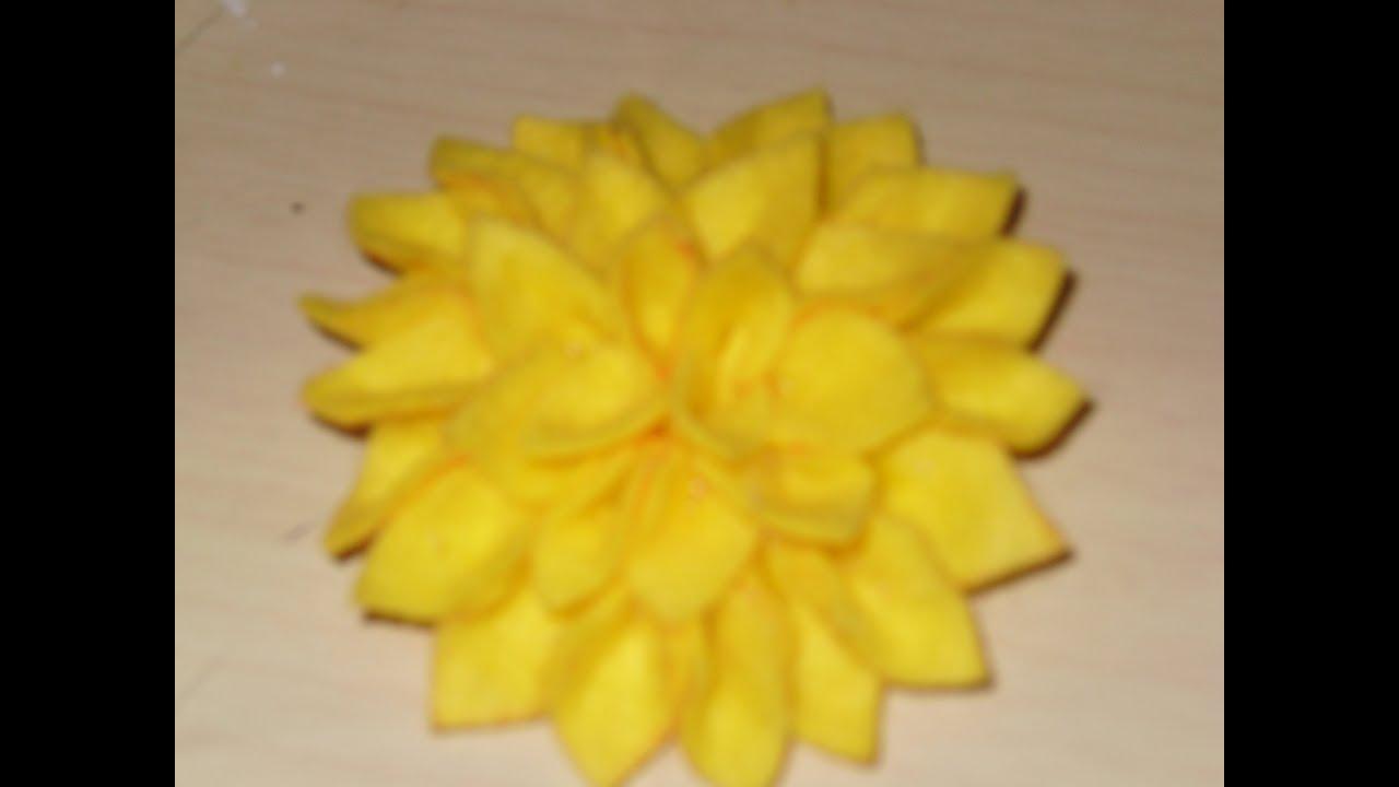 C mo hacer un hermoso crisantemo de fieltro youtube - Como hacer figuras de fieltro paso a paso ...