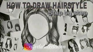 How to draw a simple hair  Easy drawing  (Cara mudah menggambar rambut)