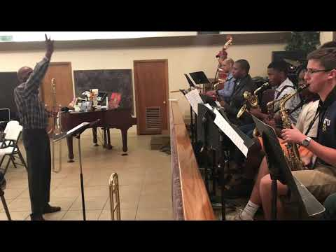 """Westray rehearses his composition """"The Jiggy"""""""