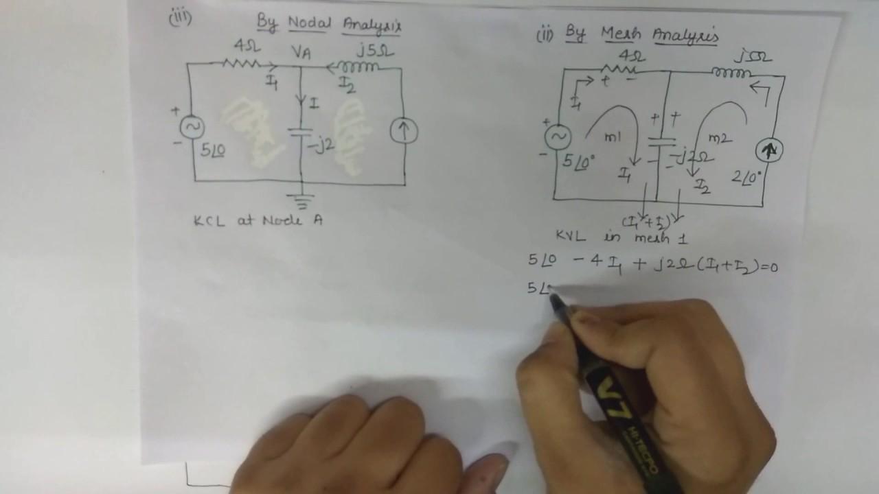 26 AC Circuit Analysis By Superposition Theorem KVL KCL AKTU Exam Problem 2003
