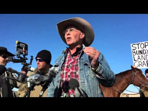 "Occupation leader Robert ""LaVoy"" Finicum speaks to supporters, protestors and the media"