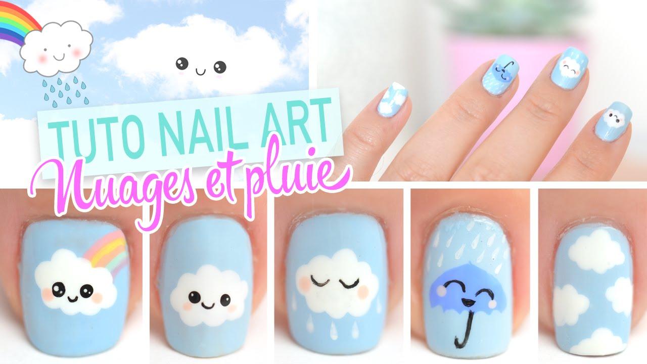 Yoko Nail Art Cupcake : Nail art Kawaii ? Nuages et pluie - YouTube