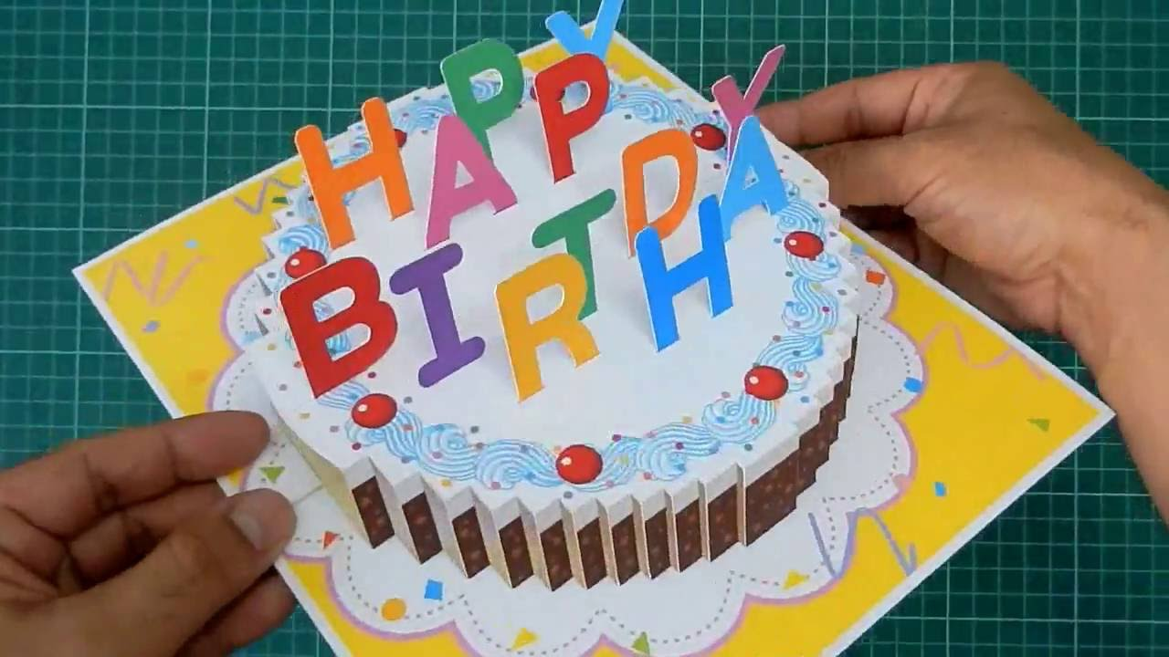 Happy Birthday Cake Pop Up Card Tutorial YouTube – Pop Up Birthday Card Templates