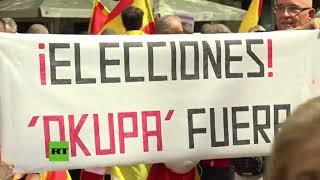 Manifestación de extrema derecha en Barcelona contra la independencia de Cataluña