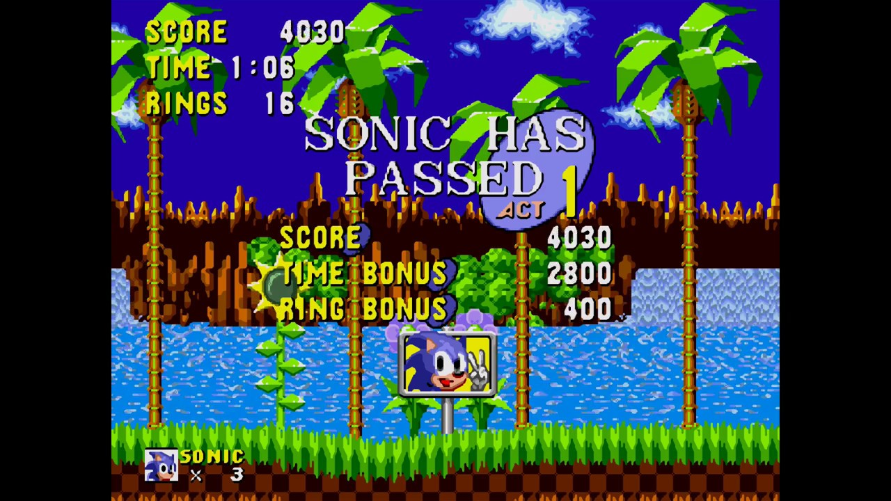 Green Hill Zone Act 1 Sonic The Hedgehog Hd 1080p 60fps Youtube