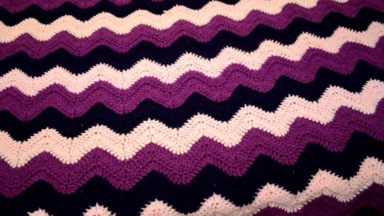 Blanket I made using the ripple/wave stitch - YouTube