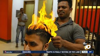 Are hairdressers really using a technique involving setting people's hair on fire?