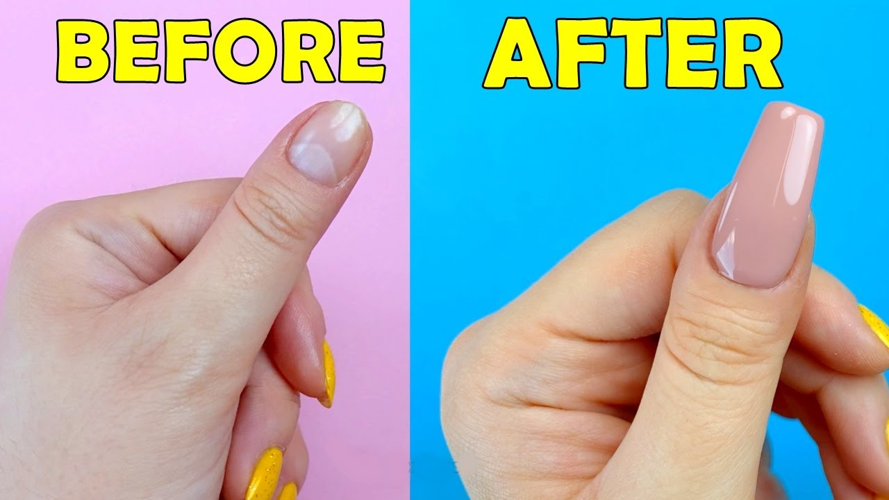 HOW TO MAKE FAKE NAILS FROM HOME MATERIALS in 5 minutes - EASY NAIL HACK IDEA