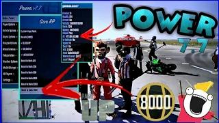 GTA V - MOD MENU POWER v7.7 {DEVOLVENDO RP} {GIVE RP & MONEY INFINITOS} + {REVELA IP}