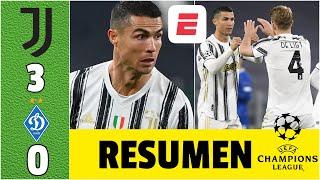 Juventus 3-0 Dynamo Kyiv Cristiano Ronaldo llega a los 750 goles. Supera a Messi | Champions League