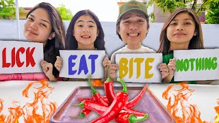 EXTREME Bite Lick Or Nothing Food Challenge! (With Siblings!!) | Ranz and niana