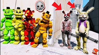 Can All the Freddy Animatronics Defeat the Evil Glitchtrap amp New Rabbit GTA 5 Mods FNAF RedHatter