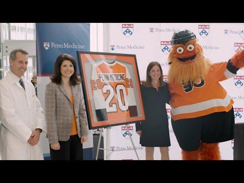 gritty-helps-announce-new-partnership-between-philadelphia-flyers-and-penn-medicine