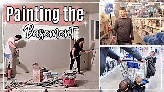 LATE NIGHT FAMILY VLOG :: PAINTING THE BASEMENT :: UNFINISHED BASEMENT UPDATE