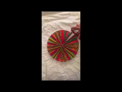 African Fabric/Leather Fan