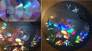 CD craft idea - waste CD/DVD flower wall hanging craft /Easy home Decor idea