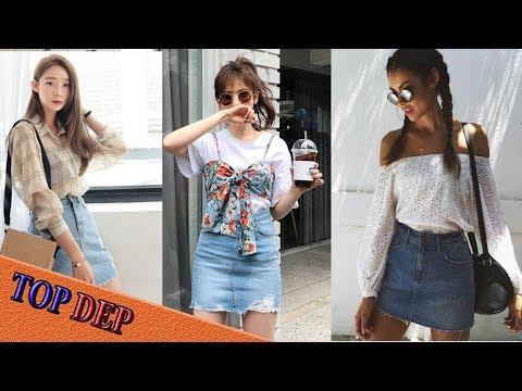 Cách Phối đồ đẹp, Mix đồ đẹp Với Chân Váy Jean