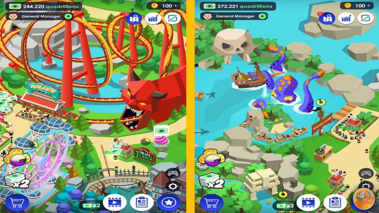 Idle Theme Park Tycoon - New Unlocked Treasure Island - Walkthrough