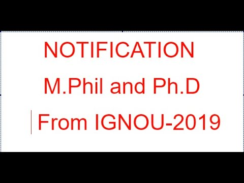 M.PHIL / PH.D NOTIFICATION FROM IGNOU 2019