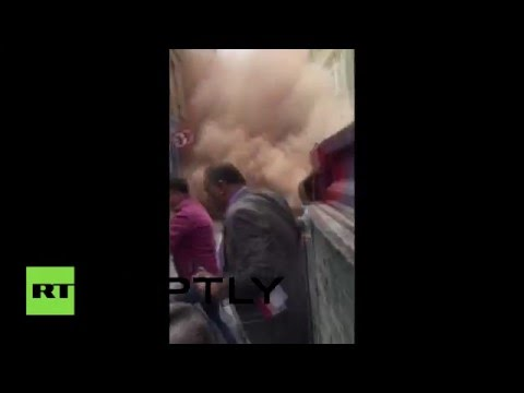RAW: Moment building collapses in Istanbul