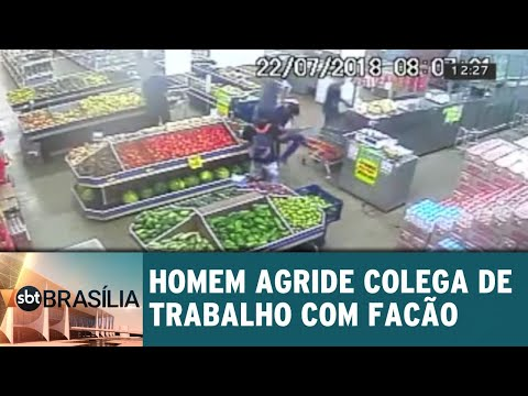 Homem agride colega de trabalho com facão | SBT Brasília 01/08/2018