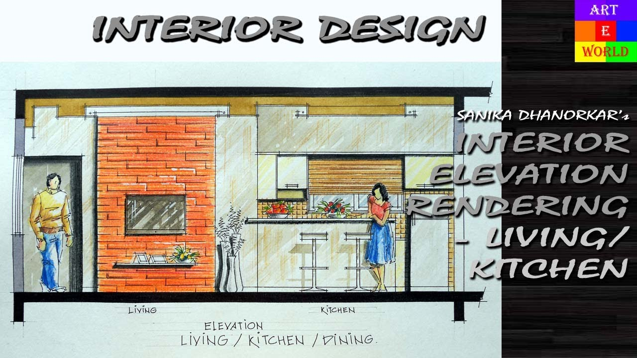 Interior Design Techniques 37: manual rendering | 2d interior design elevation | tutorial