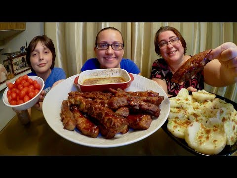 Sweet Sticky Ribs And Cheesy Potatoes | Gay Family Mukbang (먹방) - Eating Show