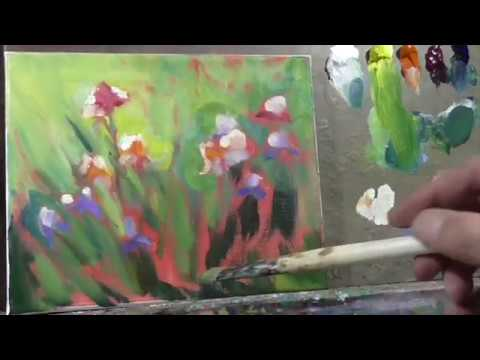 Garden Irises REAL TIME version Oil Painting Demo