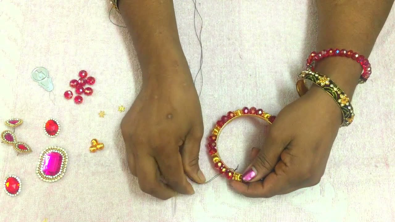 Bangle Making- How to Make Beaded Crystal Bangle In a Easy Way ...